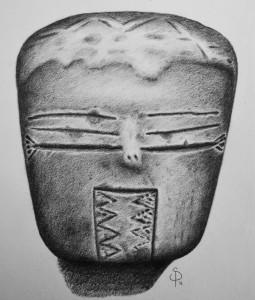 Fragmento de estatuilla con tocado y diseños en ojos y barbilla. Museo de Antropología UNC (Córdoba Capital)